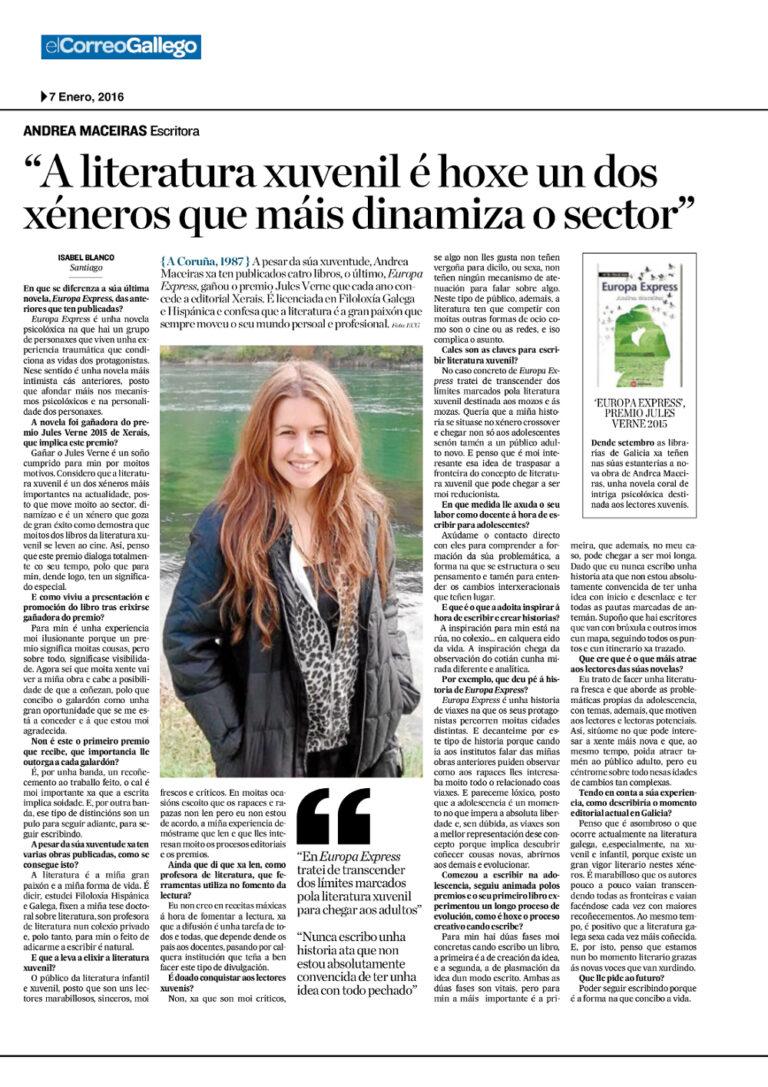Entrevista sobre Europa express para El Correo gallego