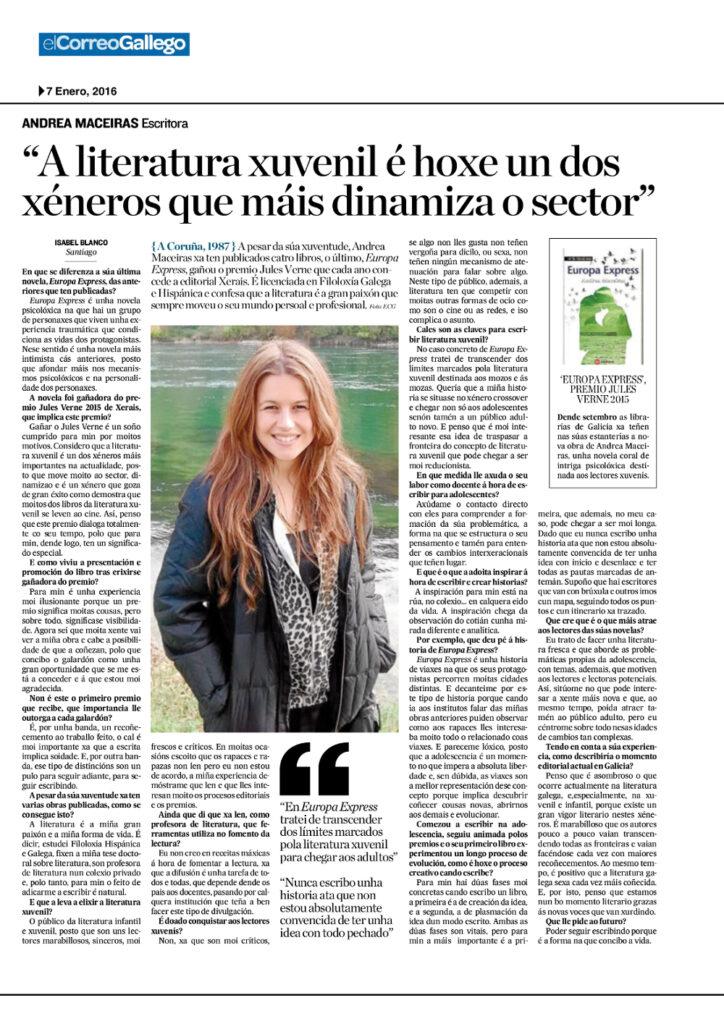 Entrevista de Andrea Maceiras para El Correo Gallego por Europa express