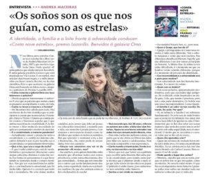Entrevista de Andrea Maceiras para La Voz de Galicia por Conta nove estrelas