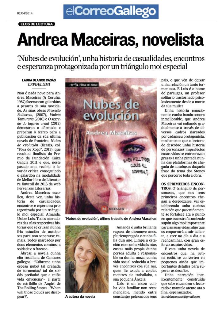 Entrevista de Andrea Maceiras en el Correo gallego por nubes de evolucion