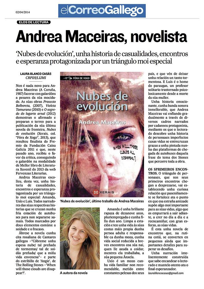 Noticia en El Correo Gallego sobre Nubes de evolución
